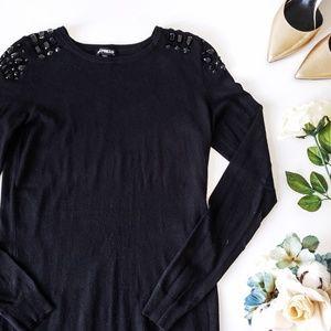 Express Rhinestone Shoulder Sweater